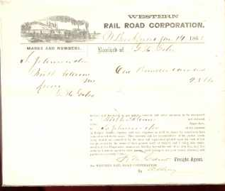 Western RR Corp 1863 Shipping Reciept