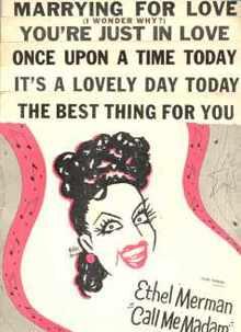 Ethel Merman Call Me Madam 5 song sheets 1950