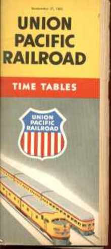 Union Pacific Sept 1953 Timetables great ads