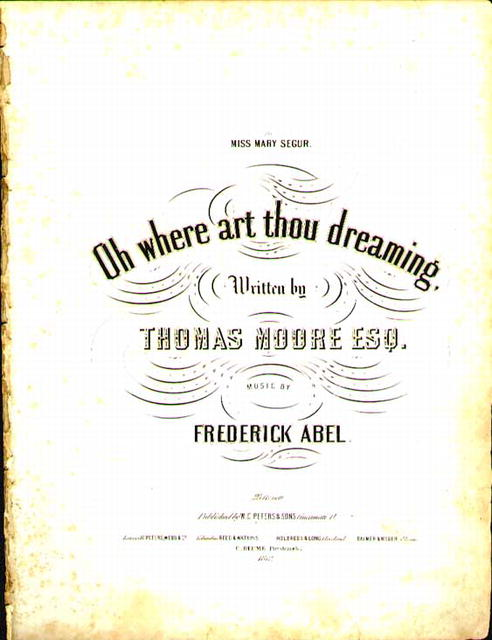 1852 Oh Where Art Thou Dreaming T Moore
