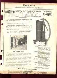 Paros Garage Service Tool Ad Grease Pump 1925
