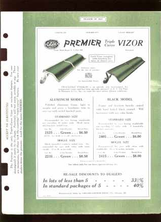 1925 Dealers Catalog Sheets Premier Vizor