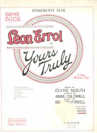 Somebody Else - Yours Truly 1926 w Leon Errol