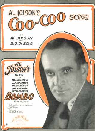 Al Jolson Coo-Coo Song in Bombo 1922 photo VG