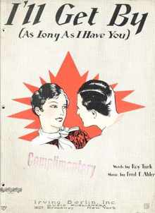 I'll Get By 1928 Turk & Ahlert Great Cover