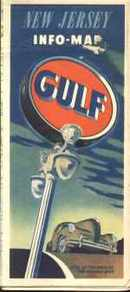 Gulf Oil New Jersey Info-Map 1940s VG