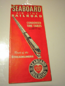dec 17,1953 seaboard airline RR time tables