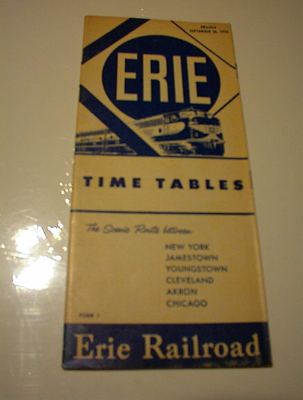 SEPT 26,1954 ERIE PAILROAD TIMES TABLE
