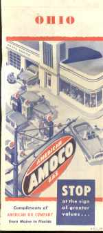 AMOCO Ohio Road Map 1954 Illustrated cover