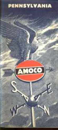 AMOCO Pennsylvania Road Map 1955 excellent