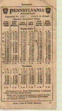 Pennsylvania RR 9/1927 Pocket Schedule