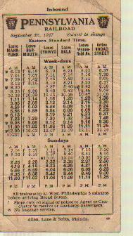 Pennsylvania RR 9/1927 Pocket Schedule