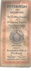 Gulf & AAA Road Map of Pittsburgh 1931