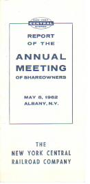 NY Central RR Annual Shareholders Report 1962