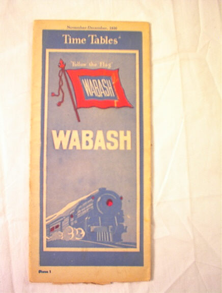 NOVEMBER=DECEMBER 1930 WABASH TIME TABLES
