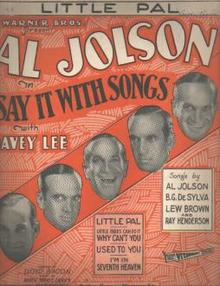 Al Jolson Little Pal 1929 photo cover