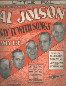 Al Jolson Little Pal 1929 photo cover