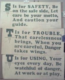 1928 Streetcar Safety Slogan Signs S T & U