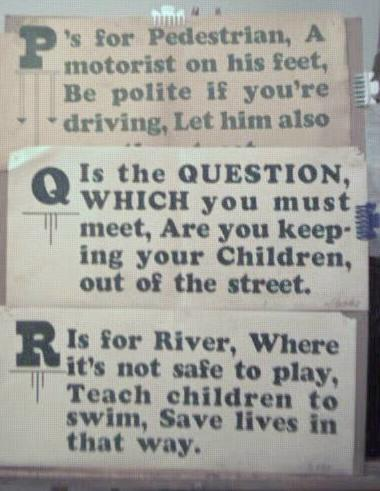 1928 Streetcar Safety Slogan Signs P Q & R