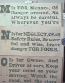 1928 Streetcar Safety Slogan Signs M N & O