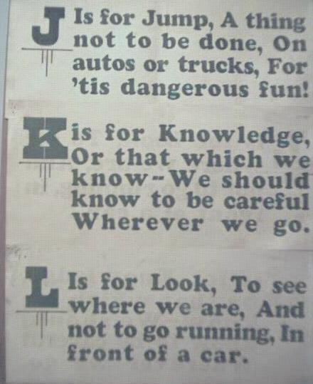 1928 Streetcar Safety Slogan Signs J K & L