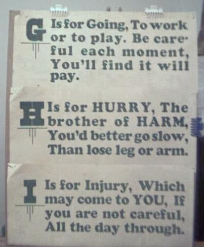 1928 Streetcar Safety Slogan Signs G H & I