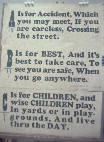 1928 Streetcar Safety Slogan Signs A B & C