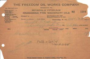 Freedom Oil Works Company 1914 Invoice