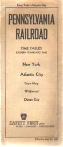 PA RR Time Tables 1941 New York-Atlantic City