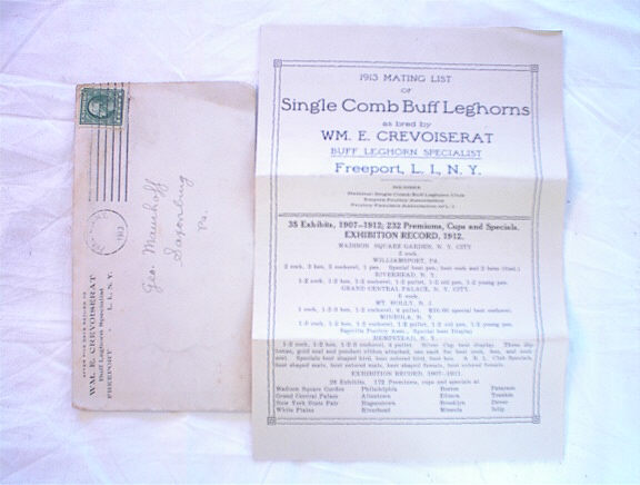 1913 MATING LIST OF SINGLE COMB BUFF LEG'HORN