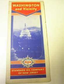 Ca 1940 ESSO Washington & vicinity road map