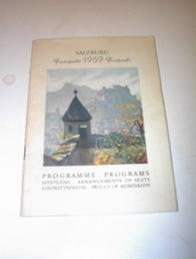 SALZBURG Festspiele 1959 Festivals Program