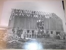 Ca 1910 B/W PHOTO of Farmers Building a Barn