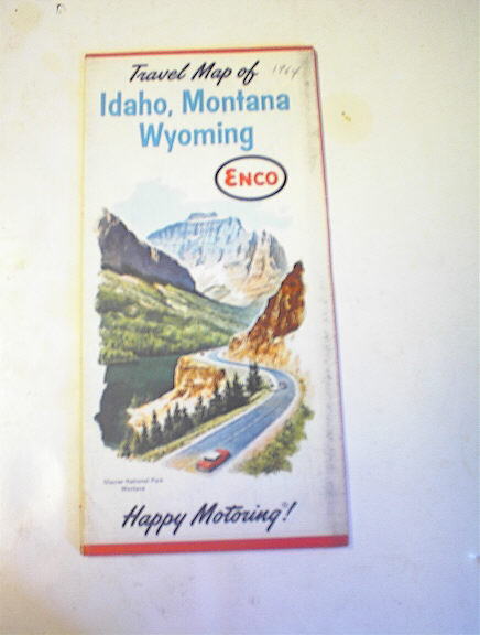 1964 ENCO Idaho,Montana Wyoming Road Map