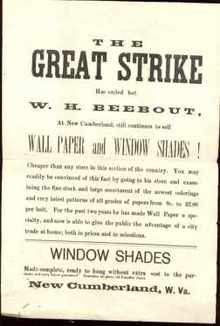 The Great Strike Has Ended 18?? ad handbill