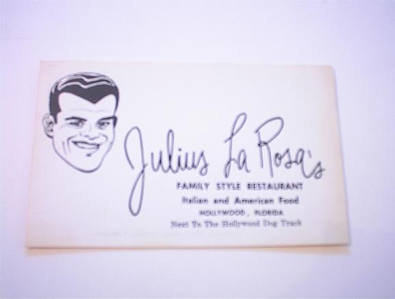 c1950 Julius La Rosa's Family Restaurant