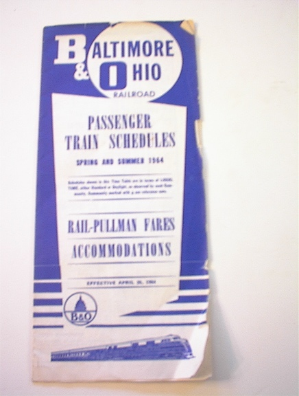 Baltimore & Ohio Railroad Passenger Schedules