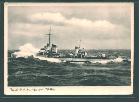German Postcard from WWII-German Warship!
