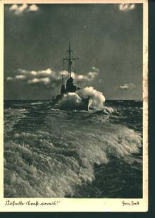 German Postcard from WWII-German Ship in Wake