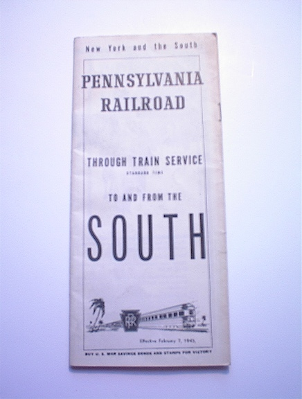 1943 Pennsylvania Railroad SOUTH Timestable
