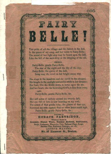 Old Penny Songsheet from 1850's of Fairy Bel