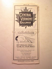 1969 Central Vermont Railway Time Table