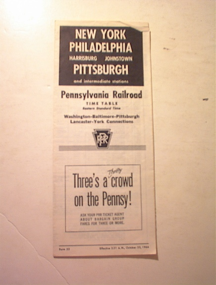 1964 Pennsylvania Railroad Time Table
