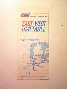 1969 Penn Central East/West/Time Table