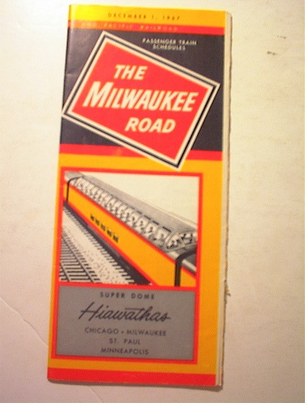1967 The Milwaukee Road Super Dome Time Table