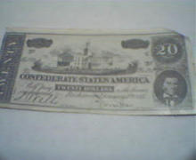 Confederate Money Game Ticket 20 Face Value