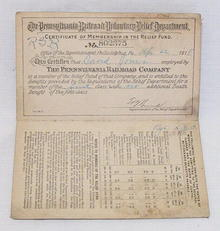 PA Railroad Co.1918 Relief Fund Memb. Certif.