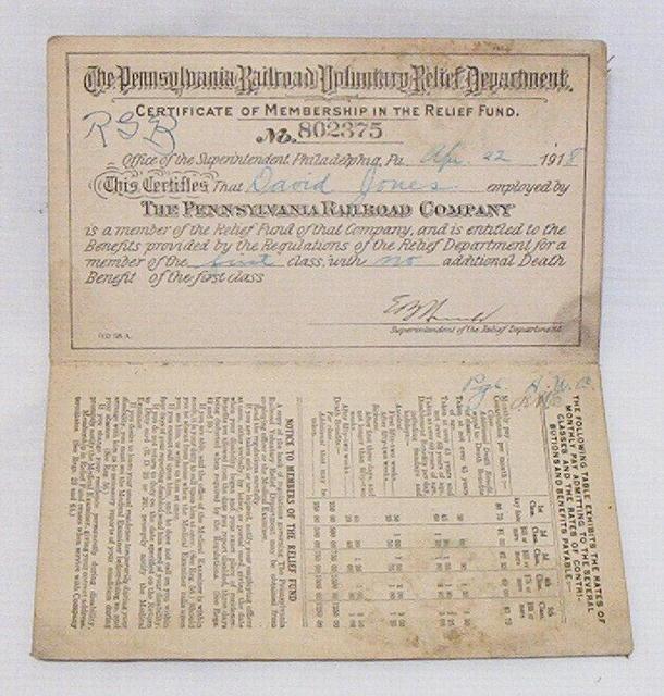 PA Railroad Co.1918 Relief Fund Memb. Certif.