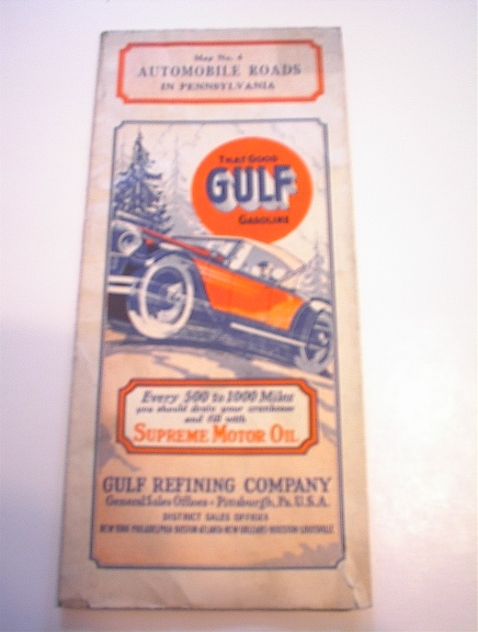Gulf Automobile Road Pennsylvania c1930 Map