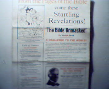 The Bible Unmasked by Joseph Lewis,Order For